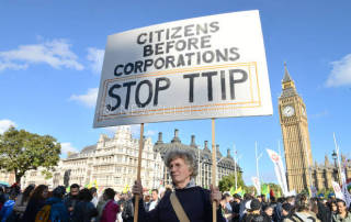 London: Protestors gather at Parliament Square to say no to the impending Transatlantic Trade and Investment Partnership (TTIP) agreement.